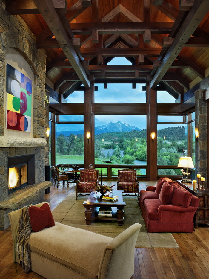 Roaring Fork River and Mt. Sopris through the window. Construction by Richard Wodehouse.