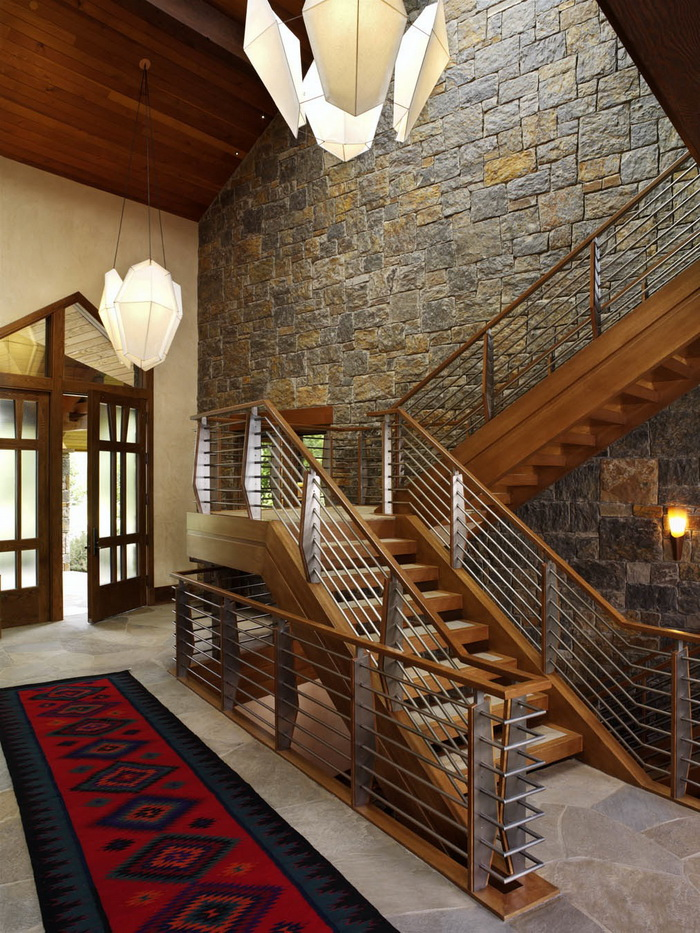 Gorgeous stainless steel railing and stone work. Aspen Glen, Buildilng by Richard Wodehouse.
