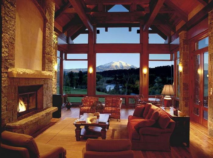 Summertime at Aspen Glen golf course. Mnt. Sopris through living room windows. Construction managed by Richard Wodehouse