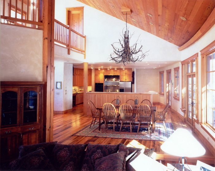 Curved wall and all wood is recycled Fir. Telluride Co. Managed by Richard Wodehouse.
