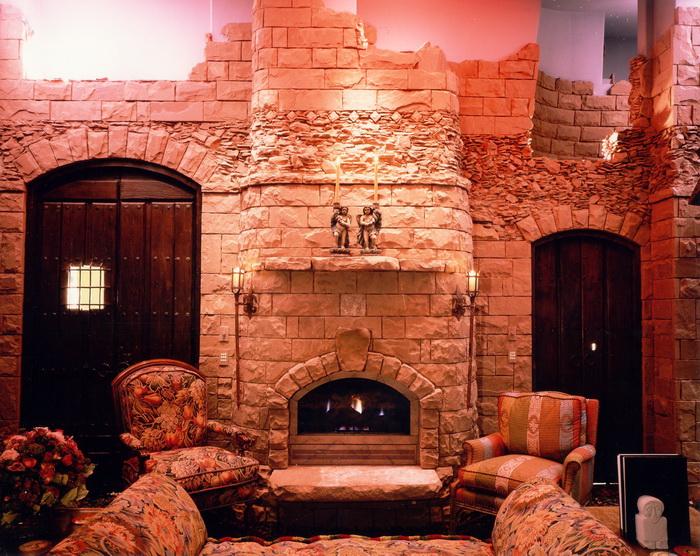 Stone ruins mimic Scottish castle in a hotel