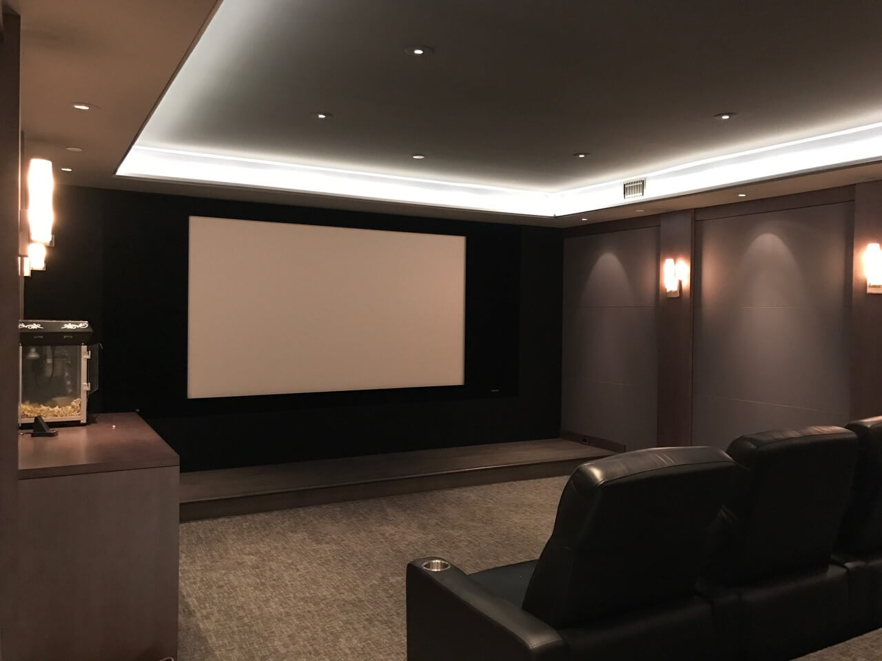 Home theater with layered lighting