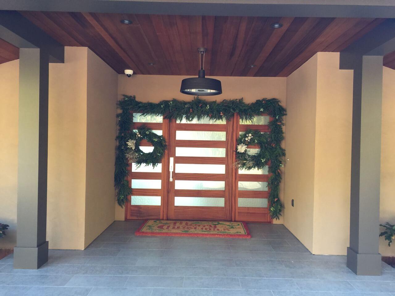 Wood and glass front door design