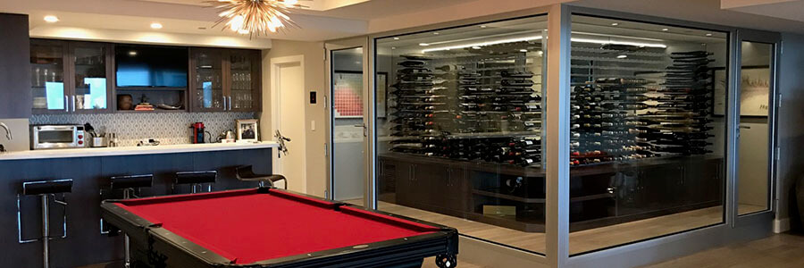 Gameroom, bar, and chilled wine room